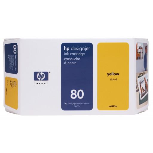 HP C4873A, No.80 Ink Cartridge Yellow, Designjet 1050, 1055- Original