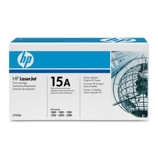 HP 15A 1000, 1005, 1200, 1220, 3080, 3320, 3330, 3380 Toner Cartridge - Black Genuine (C7115A)
