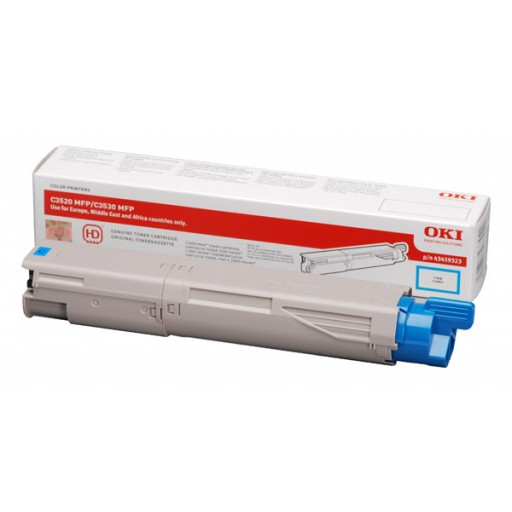 Oki 43459371 Toner cartridge Cyan, C3520, C3530, MC350, MC360- Genuine
