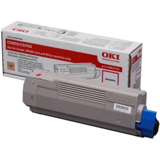 Oki 43865722 Toner Cartridge  Magenta, C5850, C5950, MC560- Genuine