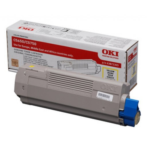 Oki 43872305, Toner Cartridge- Yellow, C5650, C5750- Genuine