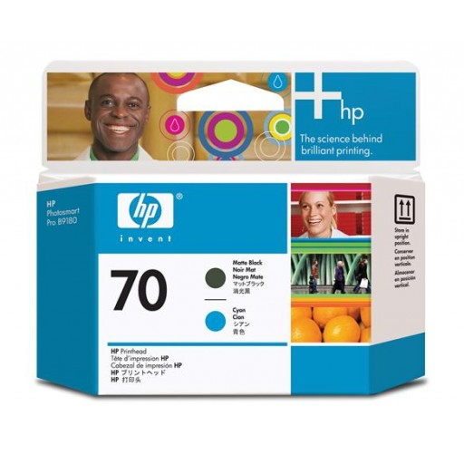 HP C9404A No.70 Matte Black & Cyan Printhead Genuine