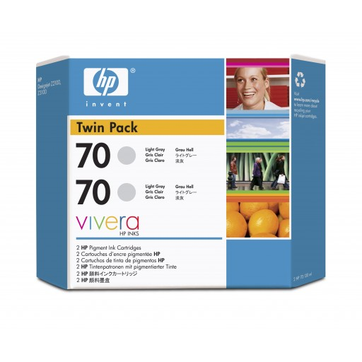 HP CB342A No.70 Ink Cartridge - Light Grey Twin Pack Genuine