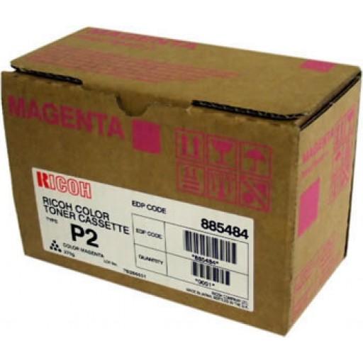 Ricoh 885484 Toner Cartridge HC Magenta, Type P2, 2228C, 2232C, 2238C - Genuine