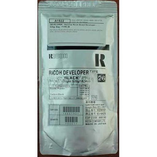 Ricoh B0799640 Developer Black, Type 26, 888190, 2035, 2045, 3035, 3045 - Genuine