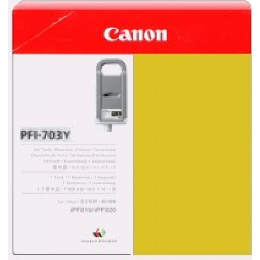 Canon iPF810, iPF815, iPF820, iPF825 PFI703Y Ink Cartridge - HC Yellow Genuine (2966B001AA)