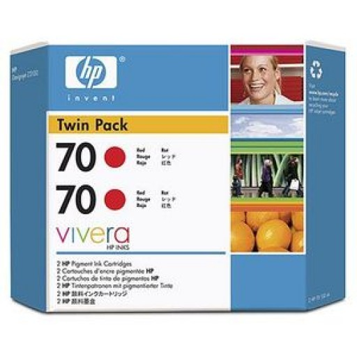 HP CB347A No.70 Ink Cartridge - Red Twin Pack Genuine