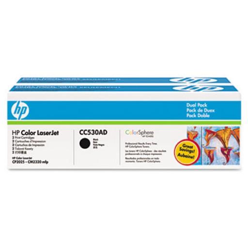 HP CC530AD, Toner Cartridge- Black Multipack, CM2320, CP2020, CP2025- Genuine
