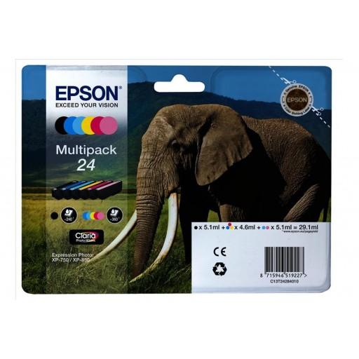 Epson C13T24284010, 24 Ink Cartridge Value Pack, XP-750, XP-850 - 6 Colour Genuine