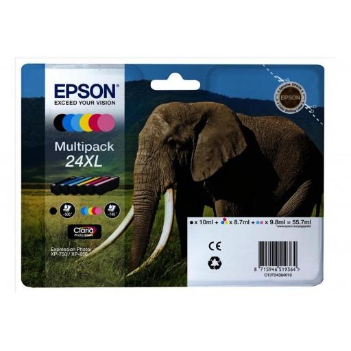 Epson C13T24384010, 24XL Ink Cartridge Value Pack, XP-750, XP-850 - HC 6 Colour Genuine