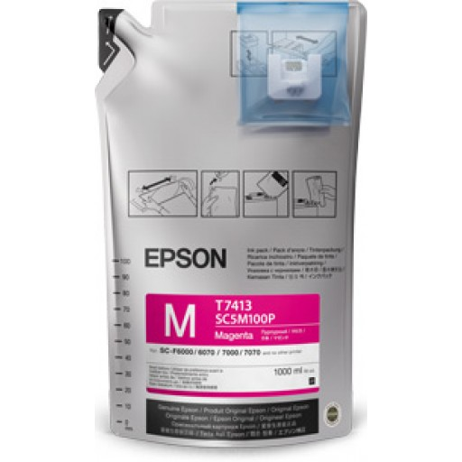 Epson C13T741300, 6 Packs,  UltraChrome DS Ink, SureColor SC-F6000 - Magenta-Refill ink