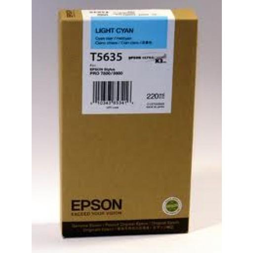Epson T5635, T563500 Ink Cartridge, Pro 7800, 9800 - HC Light Cyan Genuine
