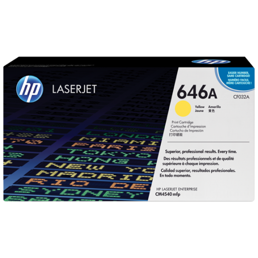 HP CF032A, 646A Toner Cartridge, Laserjet Enterprise CM4540 - Yellow Genuine