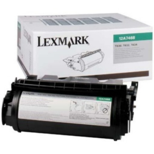 Lexmark 12A7468 Print Cartridge, T630, T632, T634 - HC Black Genuine