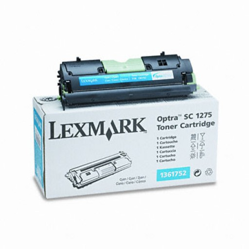 Lexmark 1361752 Toner Cartridge, Optra SC1275, SC4050 - Cyan Genuine