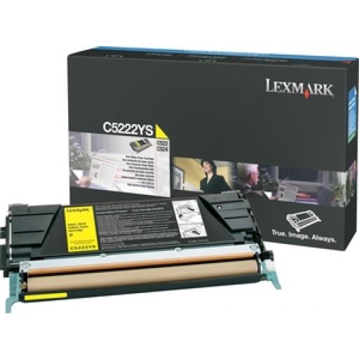 Lexmark C5222YS Toner Cartridge, C522, C524, C530, C532, C534 - Yellow Genuine