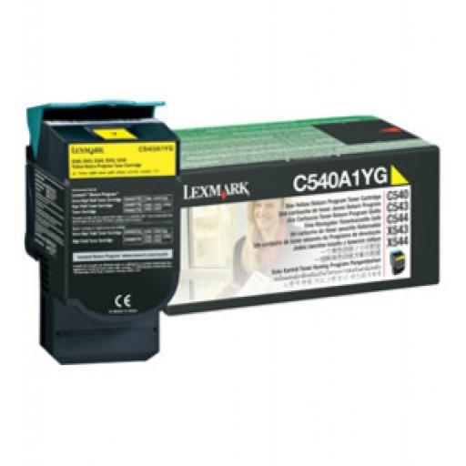 Lexmark C540A1YG, Return Program Toner Cartridge Yellow, C540, C543, C544, C546- Original