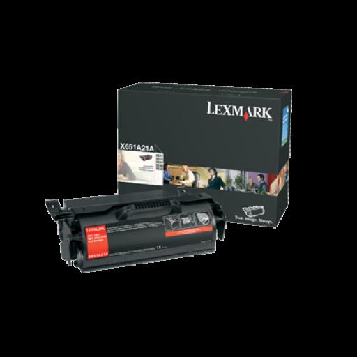 Lexmark X651A21E Toner Cartridge, X651, X652, x654, X656, X658 - Black Genuine