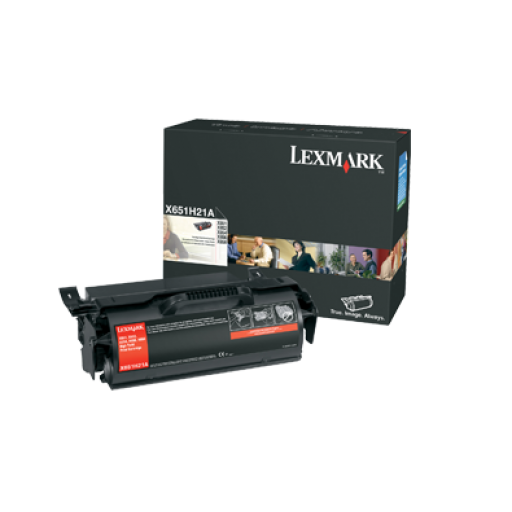 Lexmark X651H21E Toner Cartridge, X651, X652, x654, X656, X658 - HC Black Genuine