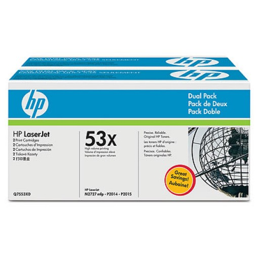 HP M2727, P2014, P2015 Toner Cartridge - Black Genuine Multipack (Q7553XD)