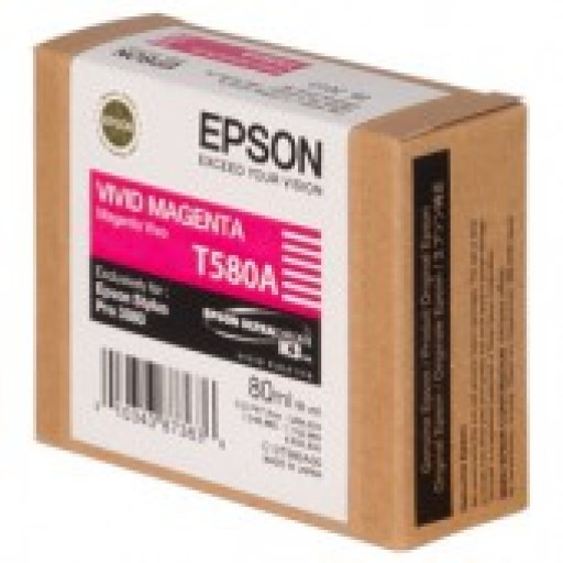 Epson T580A Vivid Magenta ink cartridge, Stylus Pro 3800, 3880 -C13T580A00 - Genuine