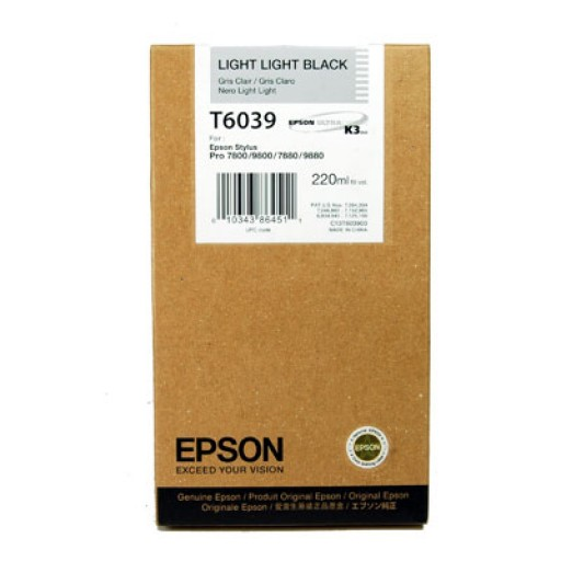 Epson T6039 Ink Cartridge - HC Light Light Black Genuine