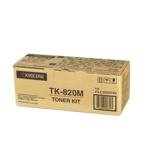 Kyocera Mita TK-820M, Toner Cartridge- Magenta, FS-C8100DN- Genuine