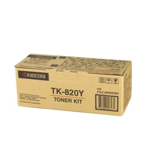 Kyocera Mita TK-820Y, Toner Cartridge- Yellow, FS-C8100DN- Genuine