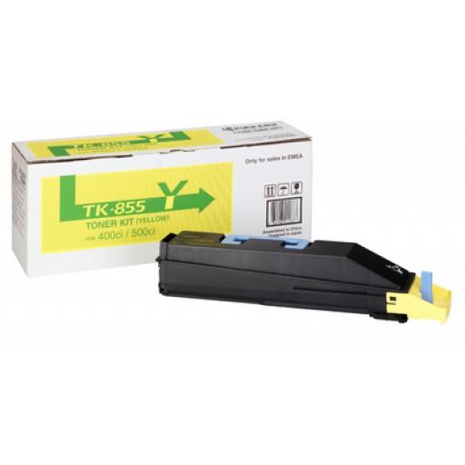 Kyocera Mita TK-855Y, Toner Cartridge- Yellow, TASKalfa 400ci, 500ci- Genuine
