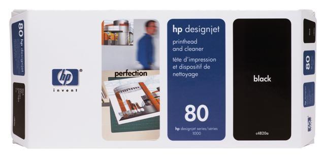 HP C4820A No.80 Black Printhead and Cleaner Genuine