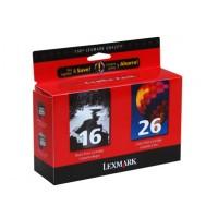 Lexmark 80D2126E No.16 & No.26 Ink Cartridge - Black & Tri-Colour Multipack Genuine