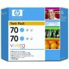 HP CB343A No.70 Ink Cartridge - Cyan Twin Pack Genuine