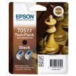 Epson T0511 Ink Cartridge - Twin Pack Black Genuine